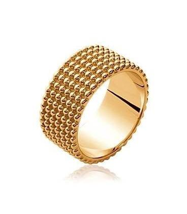Bague anneau plaqué or perlée
