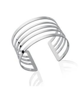 Bracelet plat rigide manchette très chic moderne argent massif