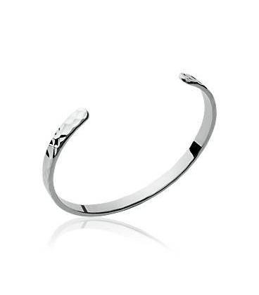 Beau bracelet femme argent massif martelé rigide ouvert