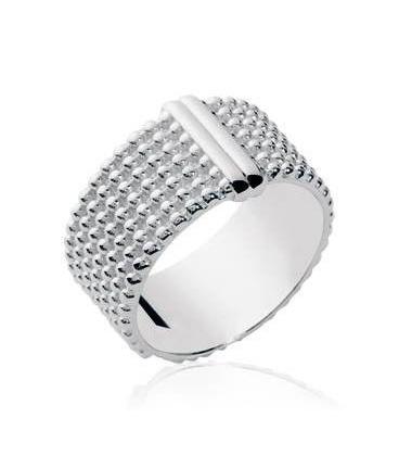 Bague argent large anneau en relief perlé