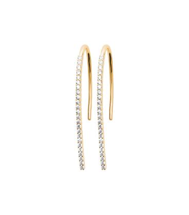 Boucles d'oreilles plaqué or zirconium pendants longs