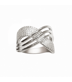 Grosse bague argent massif large anneau croisé pavage de zirconium