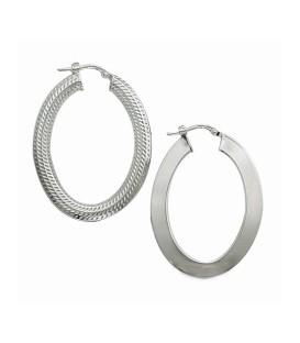 Grande créole boucles d'oreilles argent massif ovalisée anneau martelé