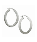 Grande créole boucles d'oreilles argent massif ovalisée anneaux a deux faces