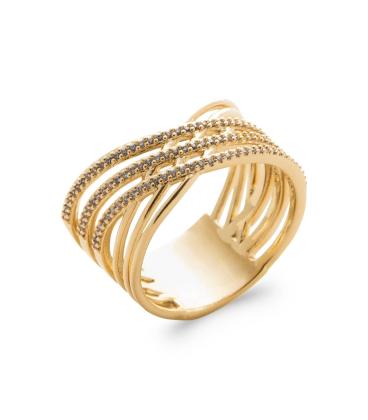 Bague plaqué or six anneaux fix beau croisé de zirconium micro serti