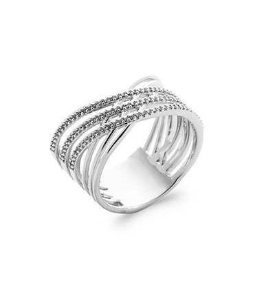 Bague argent massif anneaux entrecroisés de zirconium micro serti