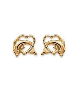 Boucles d'oreilles plaqué or dauphin dans un coeur