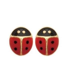 Boucles d'oreilles pour enfant la coccinelle plaqué or et émail rouge