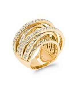 Superbe grosse bague plaqué or anneaux sertis d'oxydes de zirconium
