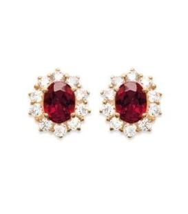 Boucles d'oreilles plaqué or et oxydes de zirconium rouge rubis griffé