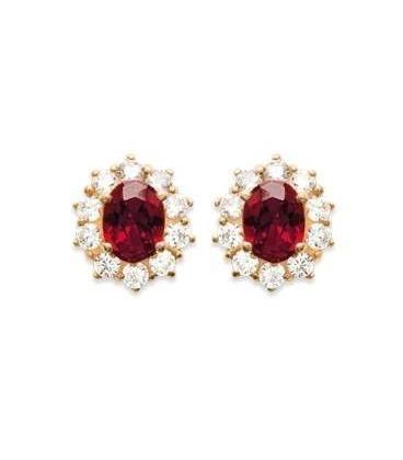 Boucles d'oreilles plaqué or et oxydes de zirconium rouge rubisgriffé
