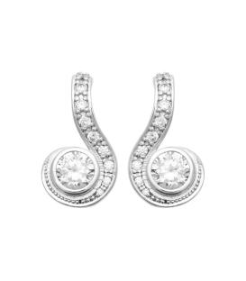 Belles boucles d'oreilles argent massif pendants de zirconium