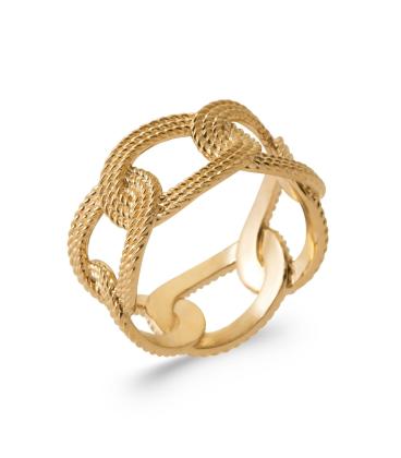 Bague plaqué or anneaux fix beaux entrelacs